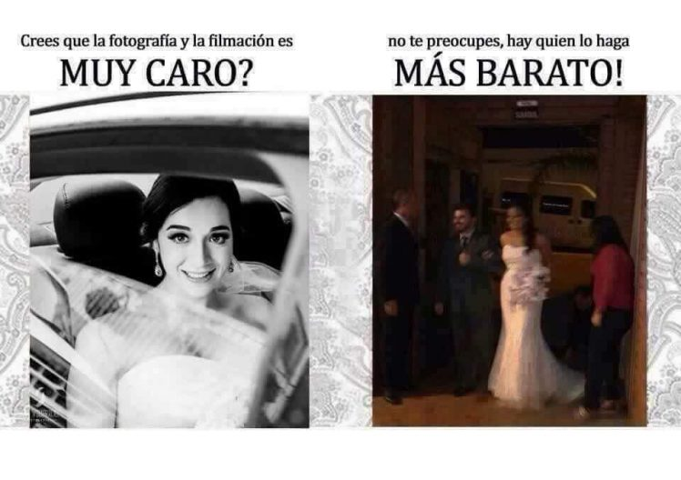 Dos fotos de novias entrando a la iglesia en una boda, una muy buena y otra pésima