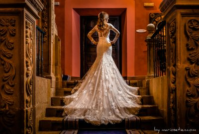 Novia en las escaleras del Palacio de Soñanes
