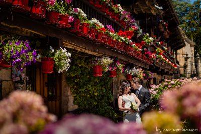 Sesión de novios en una boda en las casas de Villacarriedo desde más cerca