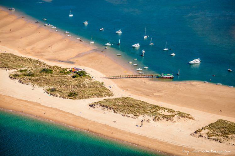 Fotografía aérea desde Santander de la playa del Puntal