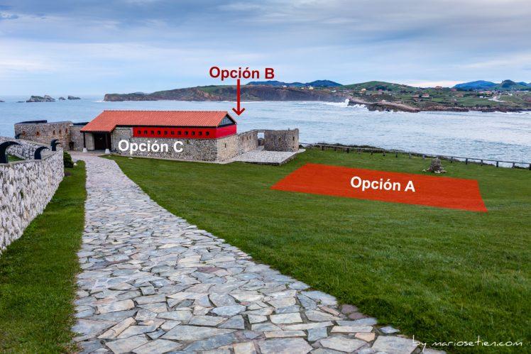 Mapas de las distintas opciones para la realización de una ceremonia Civil en el Torco de Suances